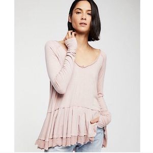 NWT Free People Long Sleeve Ribbed Peplum Top